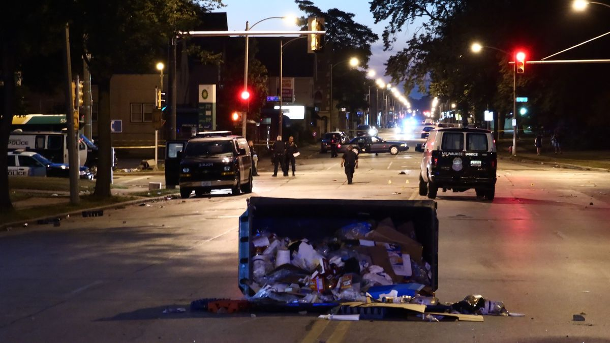 The aftermath of riots in Milwaukee, Wisconsin, after a police shooting.