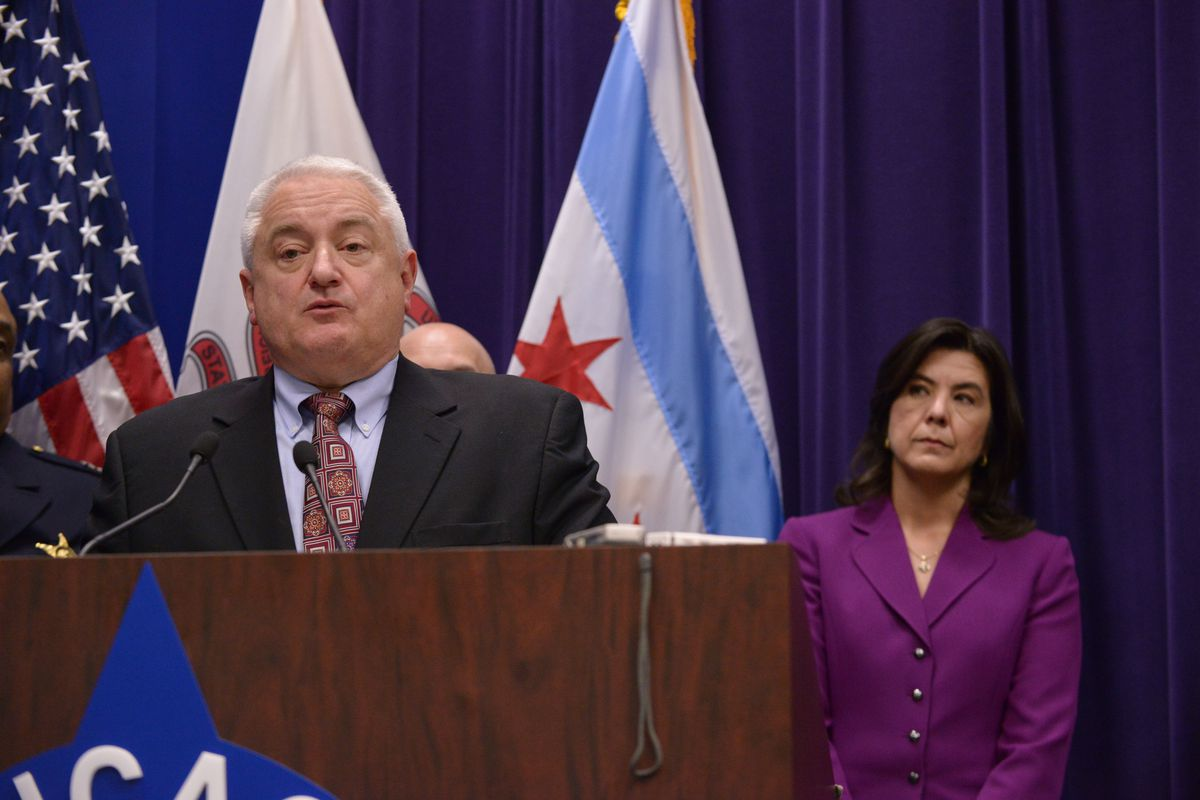 Eugene Roy, former Chicago police chief of detectives, with former State's Attorney Anita Alvarez when both were still in those posts.