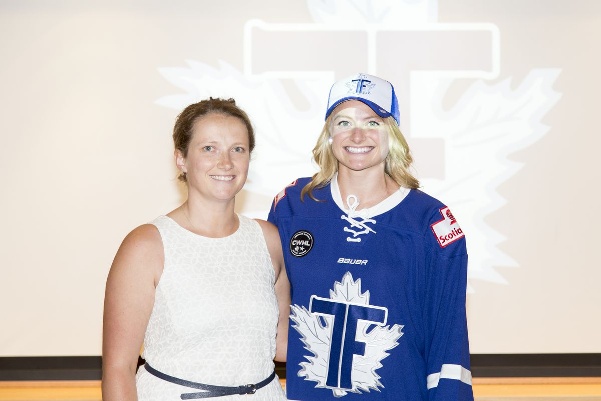 Toronto Furies 2016 first-round pick Renata Fast with GM Rebecca Davies