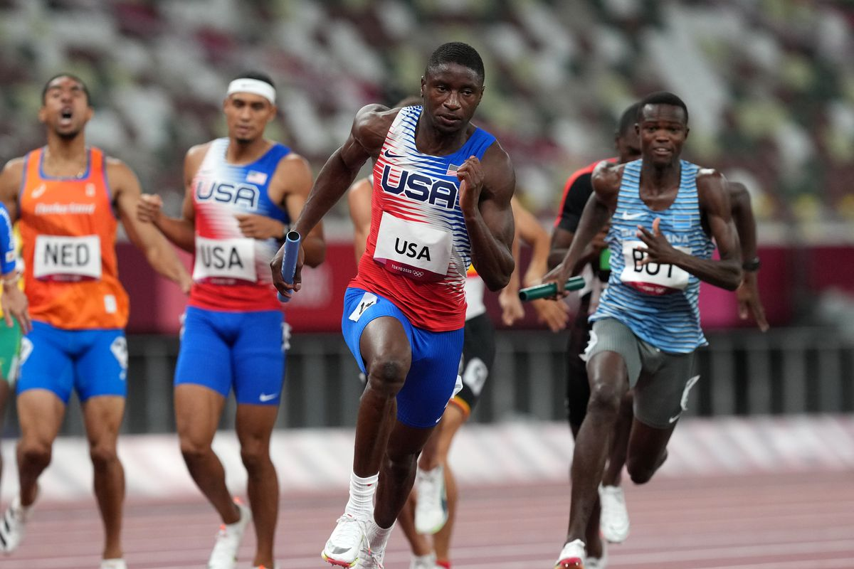 USA's Bryce Deadmon during the Men's 4 x 400m Relay at the Olympic Stadium on the fifteenth day of the Tokyo 2020 Olympic Games in Japan.