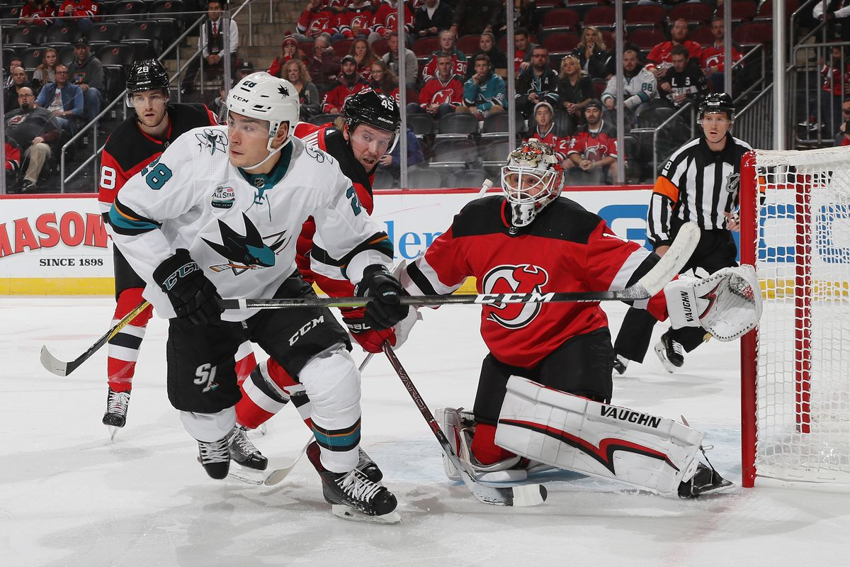 NEWARK, NEW JERSEY - OCTOBER 14: Timo Meier #28 of the San Jose Sharks skates against the New Jersey Devils at the Prudential Center on October 14, 2018 in Newark, New Jersey. The Devils defeated the Sharks 3-2.