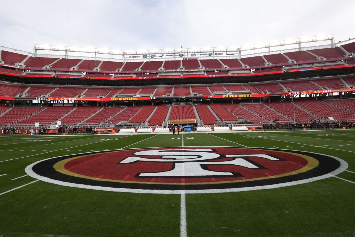 A general view of the 49ers logo on the field before the NFC Championship Game between the San Francisco 49ers and Green Bay Packers at Levi's Stadium.