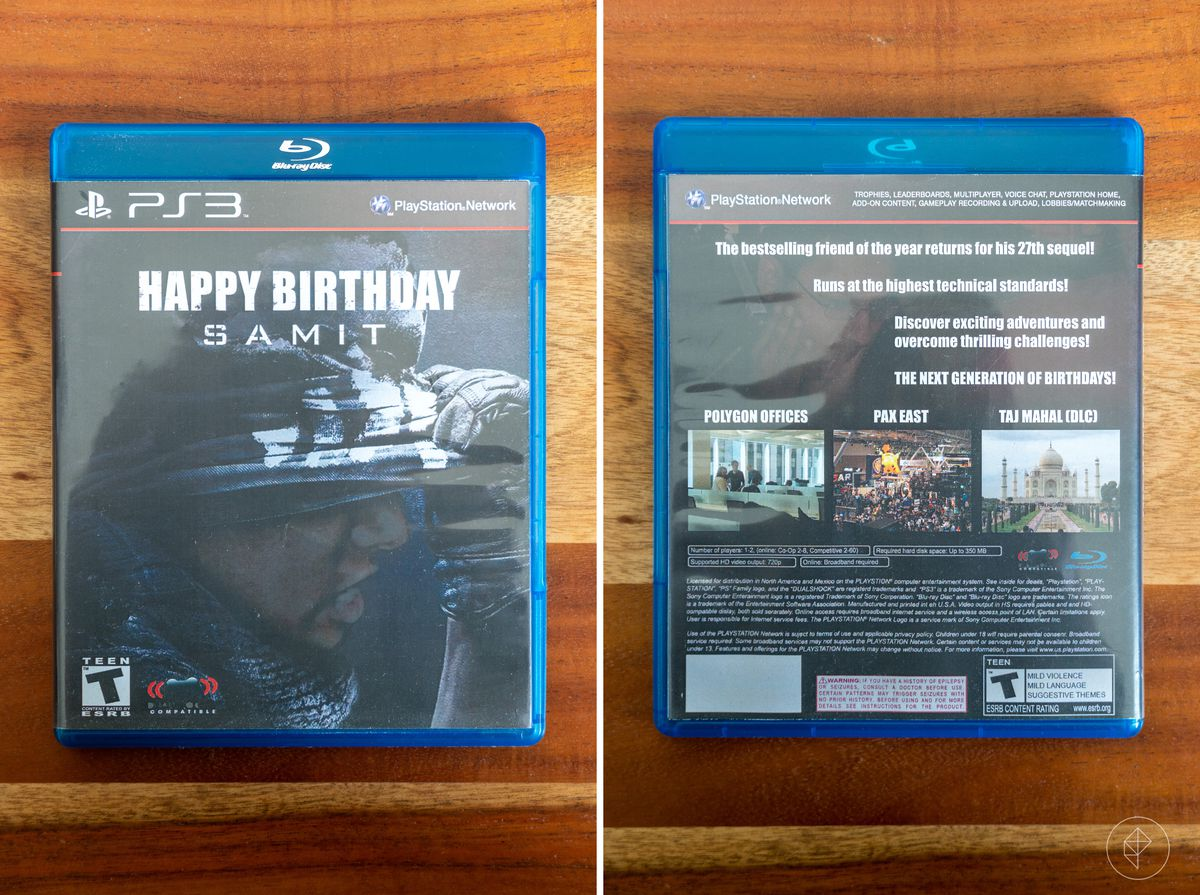 """two side-by-side photos of the front and back of a Blu-ray case with an insert in the style of the Call of Duty: Ghosts PS3 box art that reads """"HAPPY BIRTHDAY SAMIT"""""""