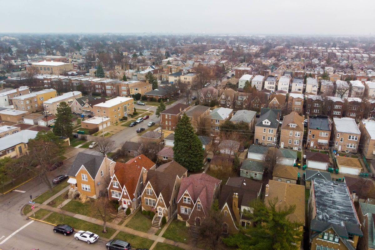 Aerial view of west suburban Berwyn looking toward Chicago in March.