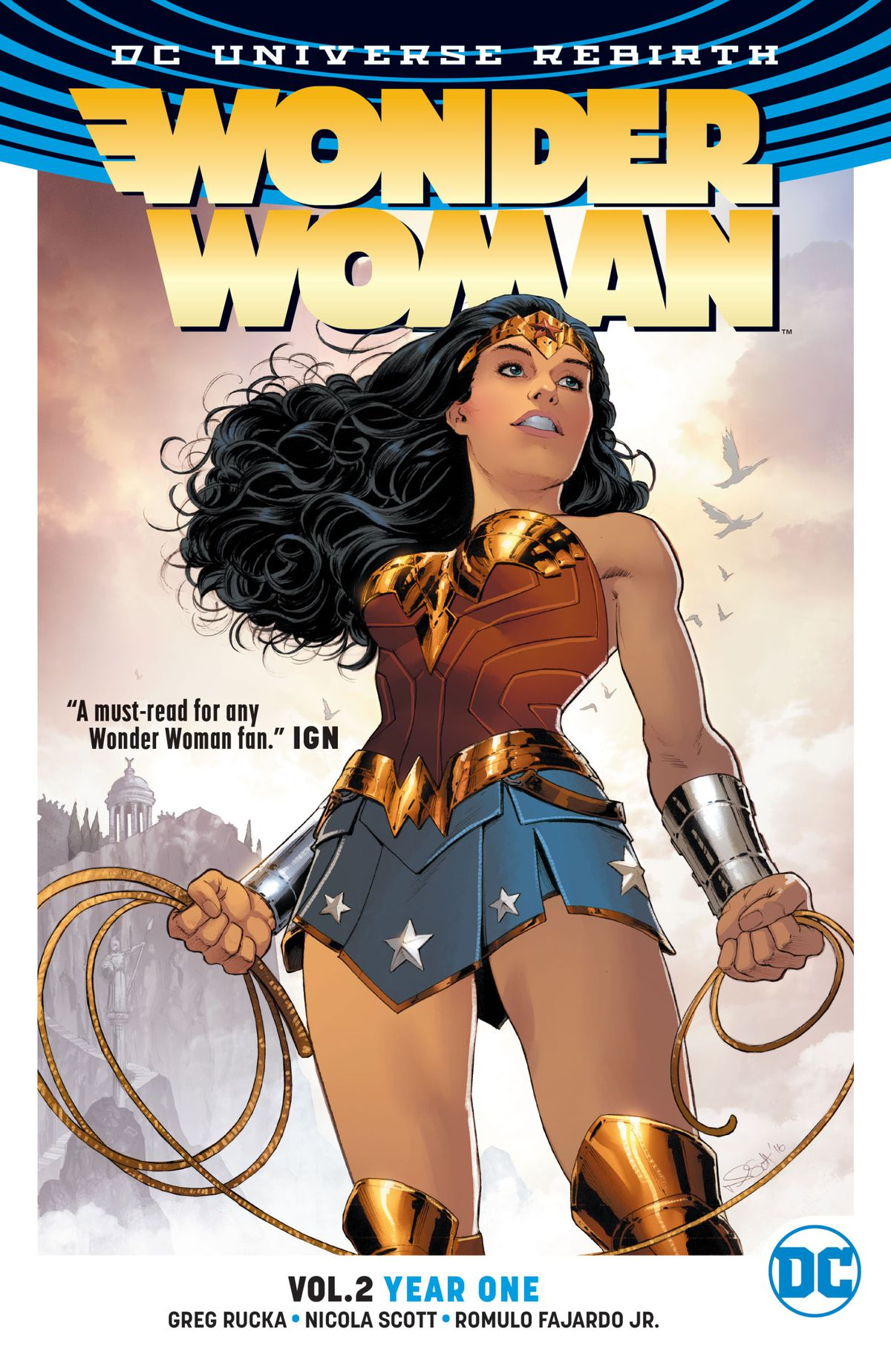 Wonder Woman stands triumphantly on Themyscira with her golden lasso on the cover of Wonder Woman: Year One.