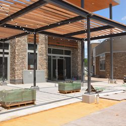 Patio area across from the shop