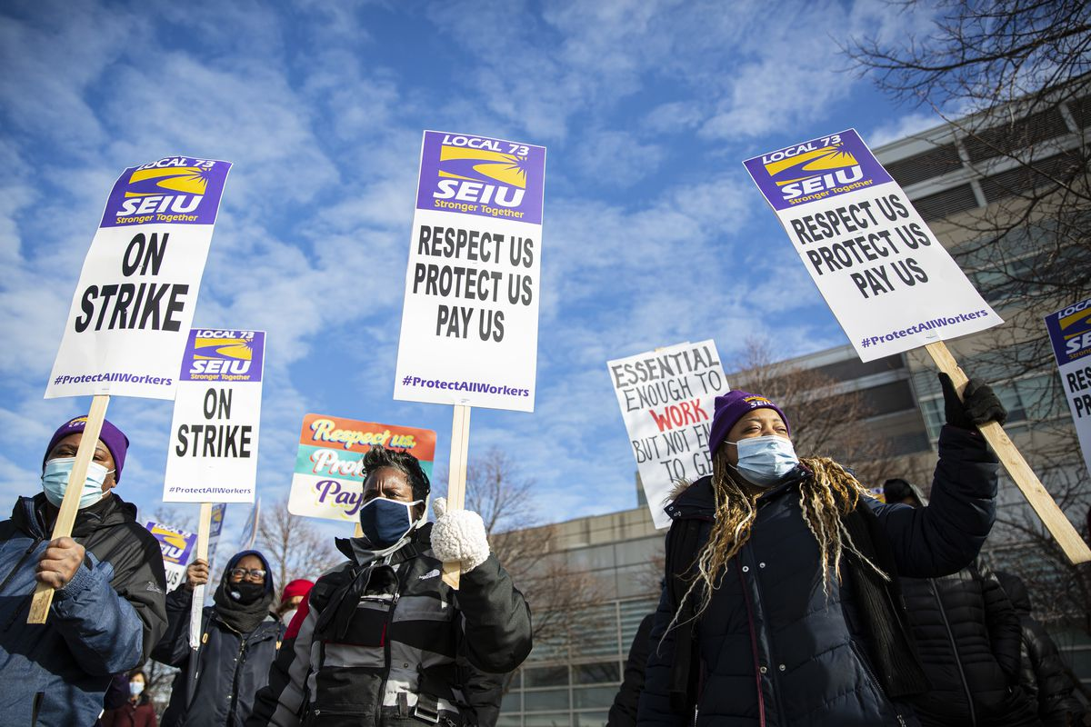 Cook County health care workers and sheriff's department employees represented by SEIU Local 73 held a one-day strike Tuesday.