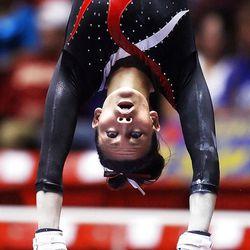 Nebraska's Emily Wong performs on the bars at the NCAA Salt Lake Regional Gymnastics Saturday, April 7, 2012 in Salt Lake City.