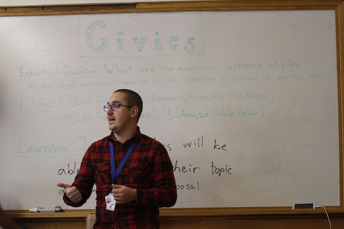 Manual High social studies teacher Andrew Egeler led a class discussion in 2013.