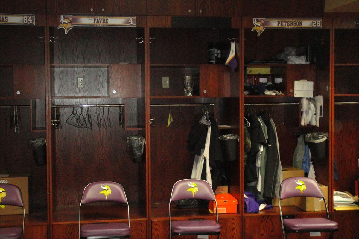 Yes, Brett Favre's locker is still there. Don't be too alarmed though--Hank Baskett's locker was still there too, and there's no way he's coming back.