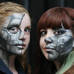 Olivia and Hanna Collings wear costumes at Comic Con in Salt Lake City Thursday, Sept. 5, 2013.