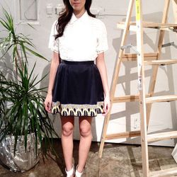 Tia Cibani Broderie Anglaise button-up, $238 (was $595); HARARE embroidered skirt, $241.6 (was $755)