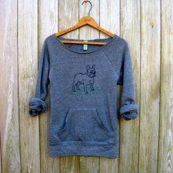 """<b>Nicola and the Newfoundlander</b> French Bulldog Sweatshirt, <a href=""""http://www.etsy.com/listing/85923824/pantpantpantlets-play-french-bulldog"""">$36</a> at Etsy"""