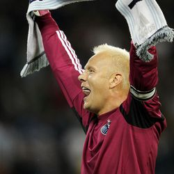 KANSAS CITY, KS - APRIL 14:  Goalkeeper Jimmy Nielsen #1 of Sporting Kansas City holds up a scarf to the crowd after Sporting defeated  Real Salt Lake 1-0 to win the Major League Soccer game against  Real Salt Lake on April 14, 2012 at Livestrong Sporting Park in Kansas City, Kansas.  (Photo by Jamie Squire/Getty Images)