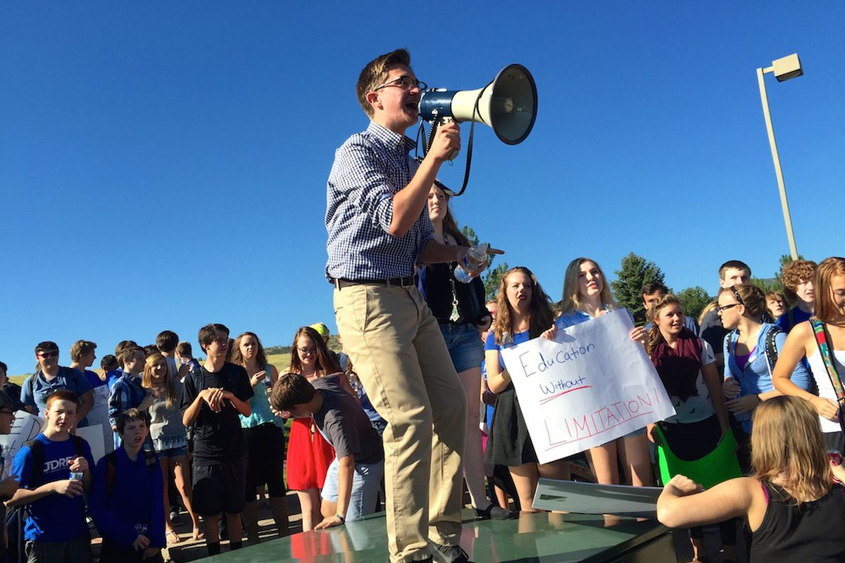 Chatfield High School junior Scott Romano lead a protest of students from his school and Dakota Ridge in Littleton. Jeffco students have been rallying against a proposed curriculum committee for four school days.