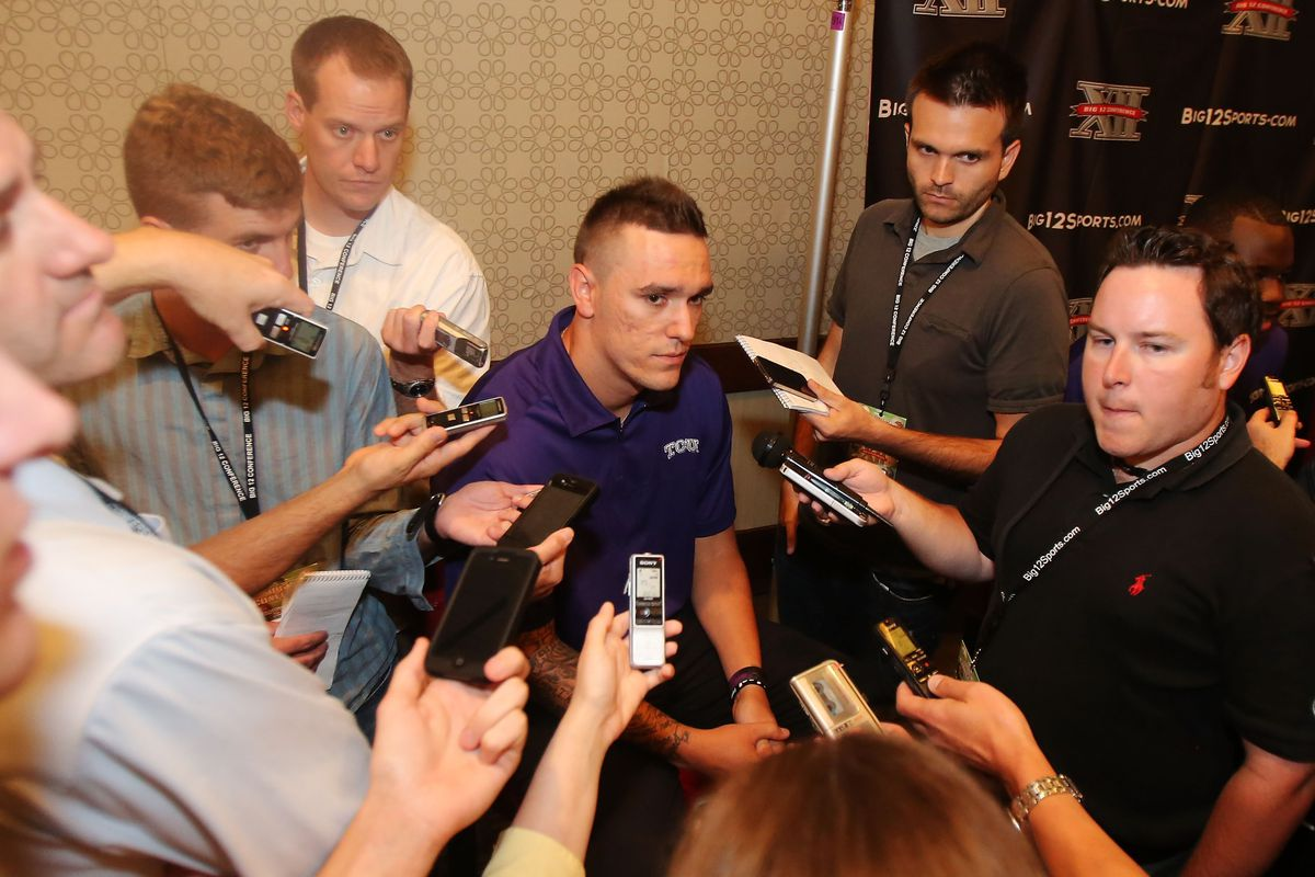 Jul 23, 2012; Dallas, TX, USA; TCU Horned Frogs quarterback Casey Pachall speaks to reporters during Big 12 Media Day at the Westin Galleria.  Mandatory Credit: Kevin Jairaj-US PRESSWIRE