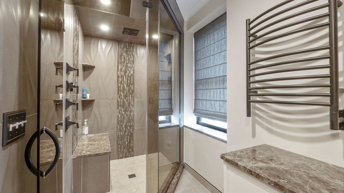 Shower for two with glass doors