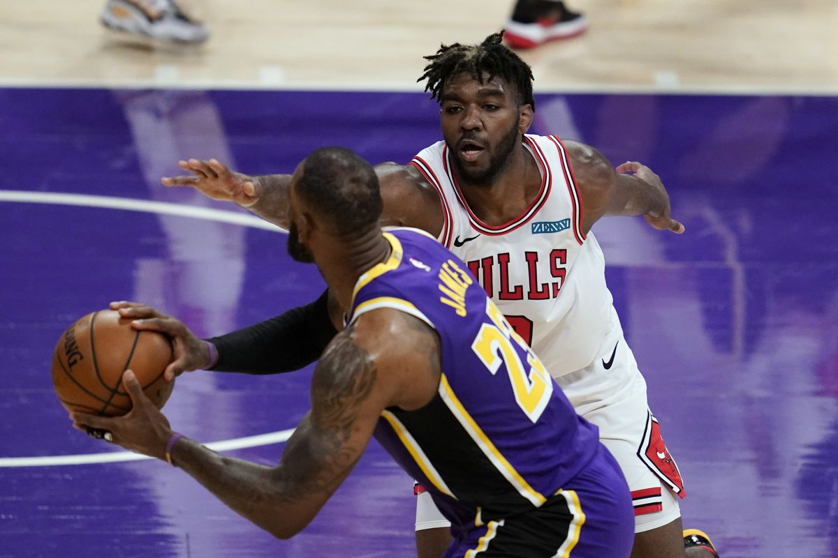 Bulls rookie forward Patrick Williams defends against the Lakers' LeBron James during a game Jan. 8 in Los Angeles.