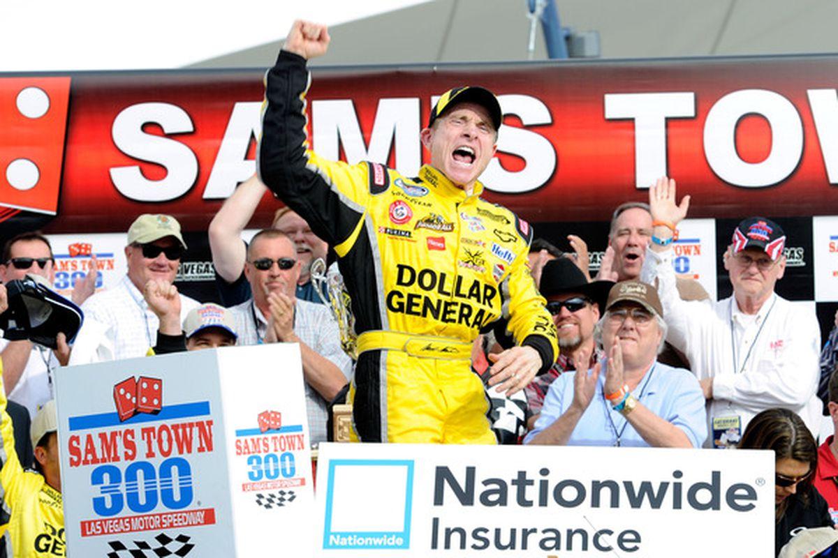 Mark Martin celebrates in victory lane after winning the NASCAR Nationwide Series Sam's Town 300 at Las Vegas Motor Speedway.