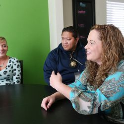 Intensive Supervision client Amanda Newsome, left, Salt Lake County deputy sheriff Eli Wolfgramm and Jeannie Ybarra, of Salt Lake County Criminal Justice Services, at Valleycore for Women in Salt Lake City on Thursday, Oct. 6, 2016.