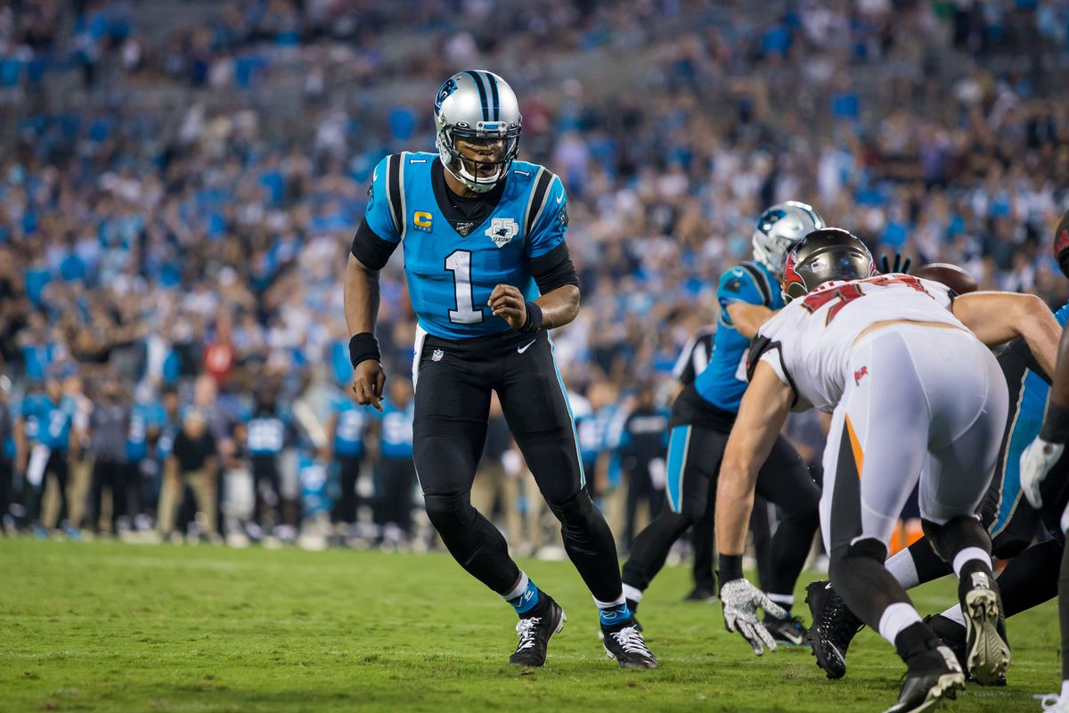 Cam Newton Injury Panthers Qb Scooters To Practice Still Not Participating Update Draftkings Nation