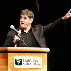 Sean Hannity rallies support for President Bush at UVSC Monday to offset the coming appearance of Bush critic Michael Moore.