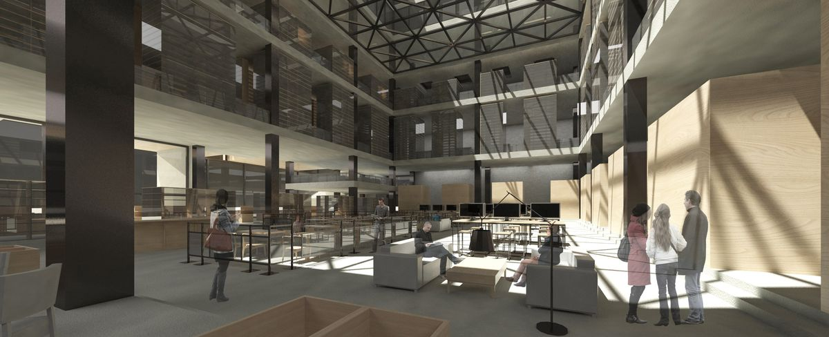 A rendering of a library design by Tech students.