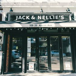 """<b>↑</b> Brunch at local favorite <b><a href="""" http://www.jacknellies.com/"""">Jack & Nellie's</a></b> (108-35 Ascan Avenue) will launch you into the tight-knit-neighborhood-meets-big city spirit of Forest Hills. A friendly gathering place, this Mediterran"""