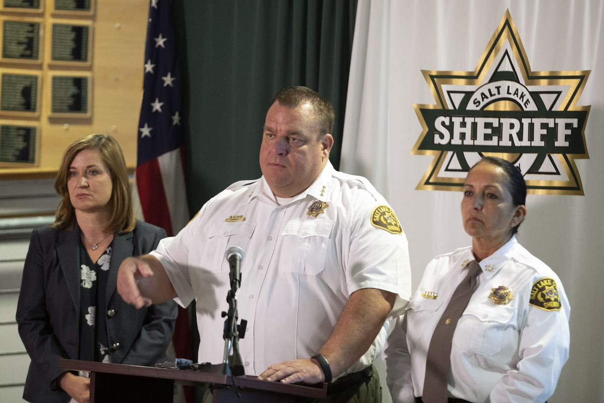 Salt Lake County Mayor Jenny Wilson, left, Salt Lake County Sheriff's Chief Deputy Matt Dumont and Salt Lake County Sheriff Rosie Rivera unveil a new public information tool for the Salt Lake County Jail during a press conference at the Salt Lake County Sheriff's Office in South Salt Lake on Wednesday, Aug. 14, 2019. The Jail Dashboardpulls data from the jail's data system and is updated every day.