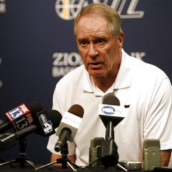 Utah Jazz General Manager Kevin O'Connor talks about new Utah Jazz guard Randy Foye during a press conference at the Zions Bank Basketball Center in Salt Lake City on Thursday, July  26, 2012.