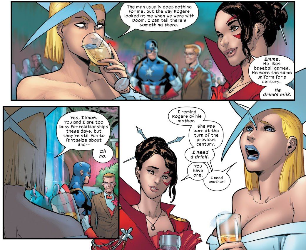 Emma Frost tells Kitty Pryde that Captain America may like her until she realizes that Captain America has read more deeply into his mind and reminds him of his mother.