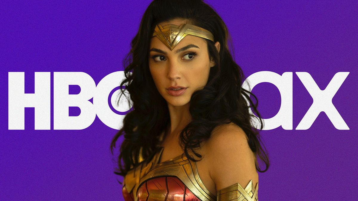 Wonder Woman stands in front of an HBO Max logo