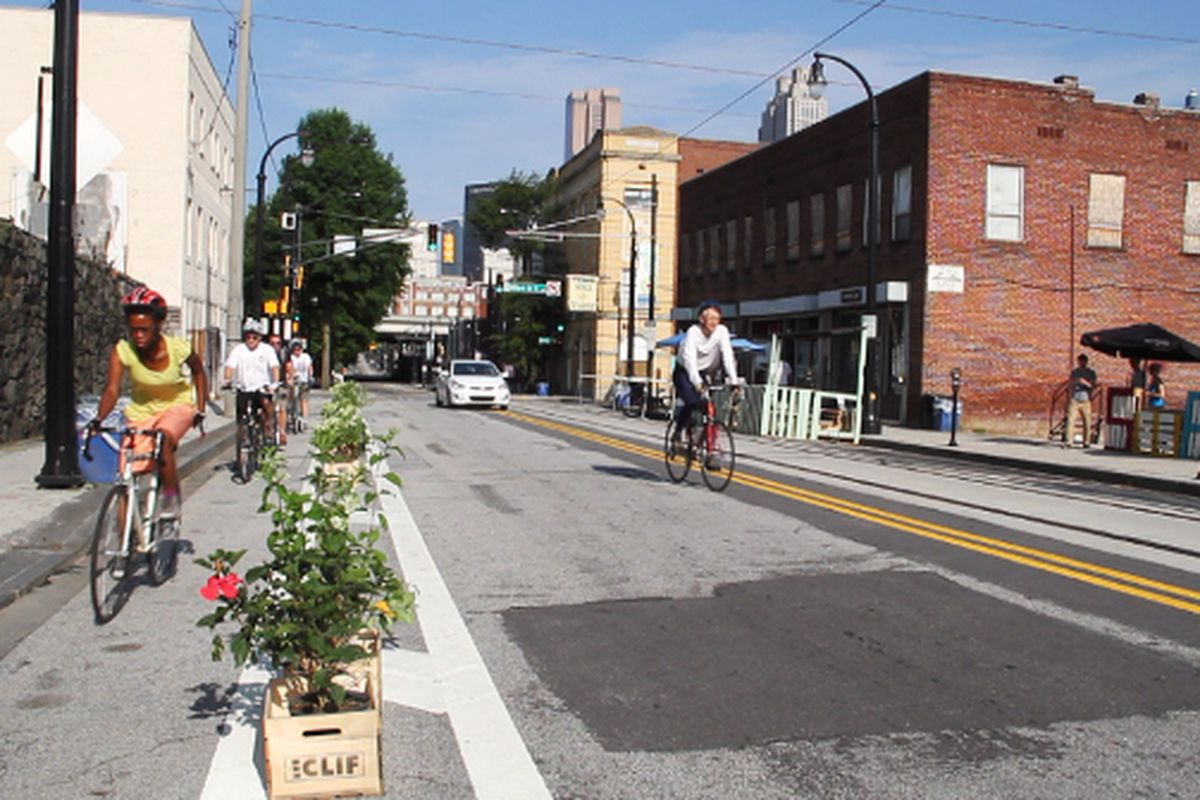 An alternate means of keeping vehicles from bike lanes, as seen on Auburn Avenue.