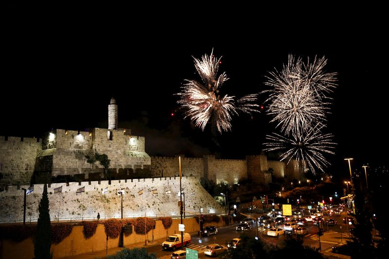 Fireworks illuminate the sky at the Jerusalem's old city on the day the U.S. relocated its embassy from Tel Aviv to Jerusalem on May 14, 2018.