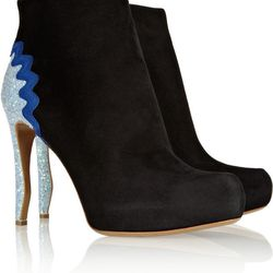 """<a href=""""https://www.theoutnet.com/product/392642"""">Glitter-finished suede ankle boots by Nicholas Kirkwood</a>, $248.75 (were $995)"""