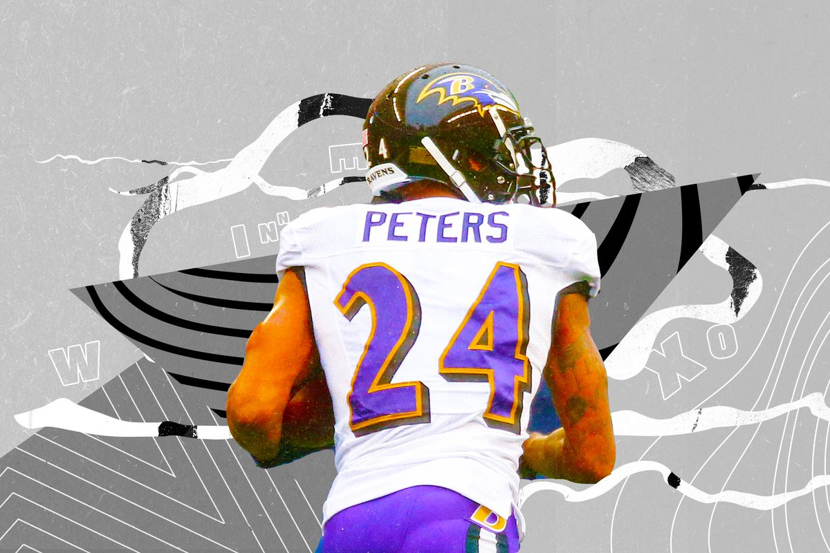 Ravens CB Marcus Peters with his back to the camera, superimposed on a black-and-white background