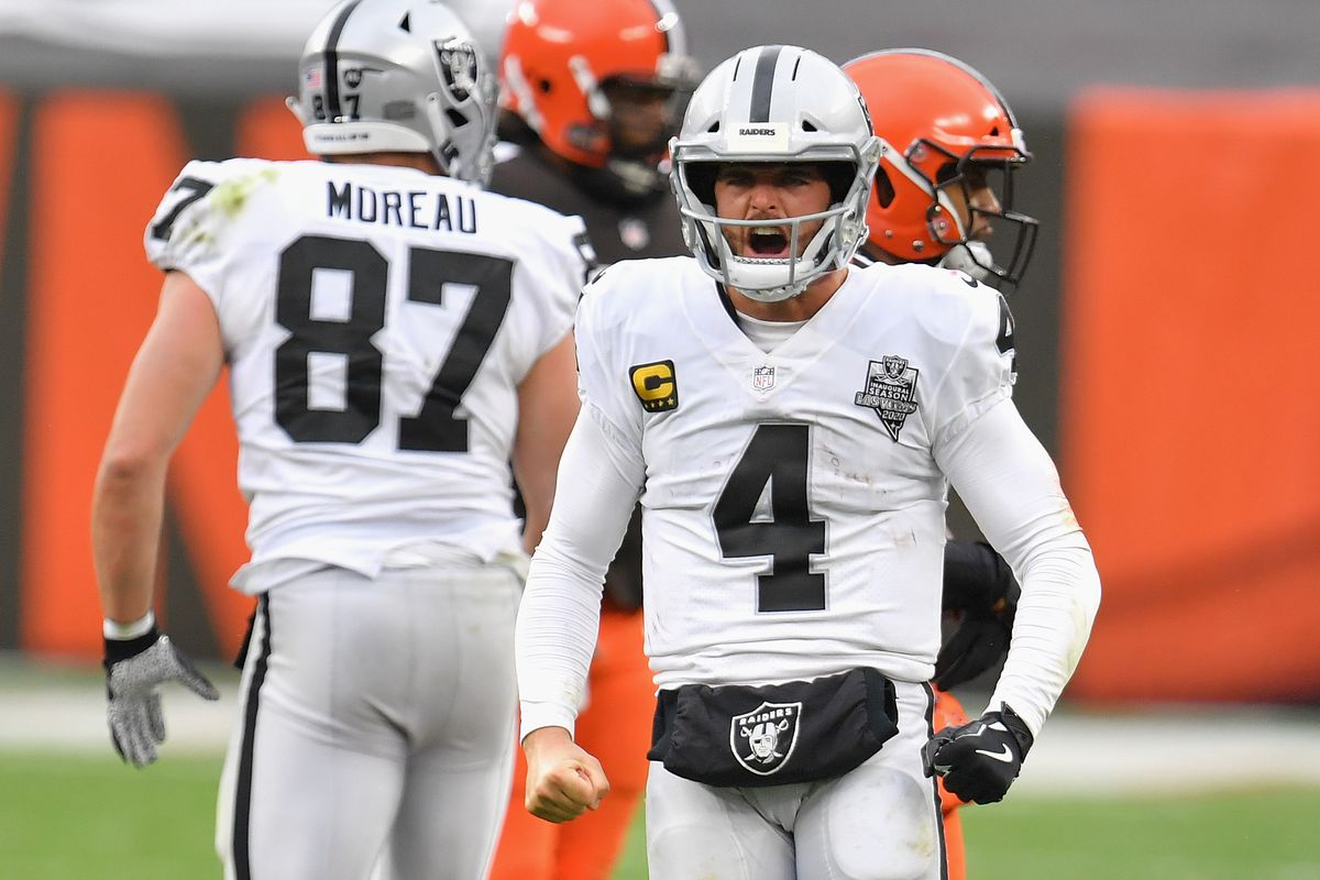 Quarterback Derek Carr of the Las Vegas Raiders celebrates a first down rush against the Cleveland Browns during the second half of the NFL game at FirstEnergy Stadium on November 01, 2020 in Cleveland, Ohio. The Raiders defeated the Browns 16-6.