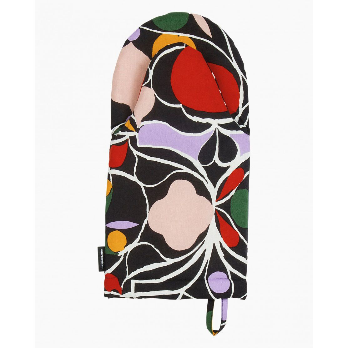 A patterned oven mitt with a swirled pattern, with splotches of red, light pink, and purple coloring.