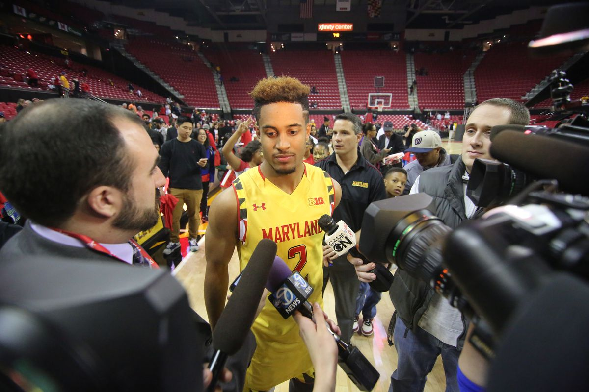 Big Ten preseason player of the year Melo Trimble meets the media after Maryland Madness on Oct. 17.