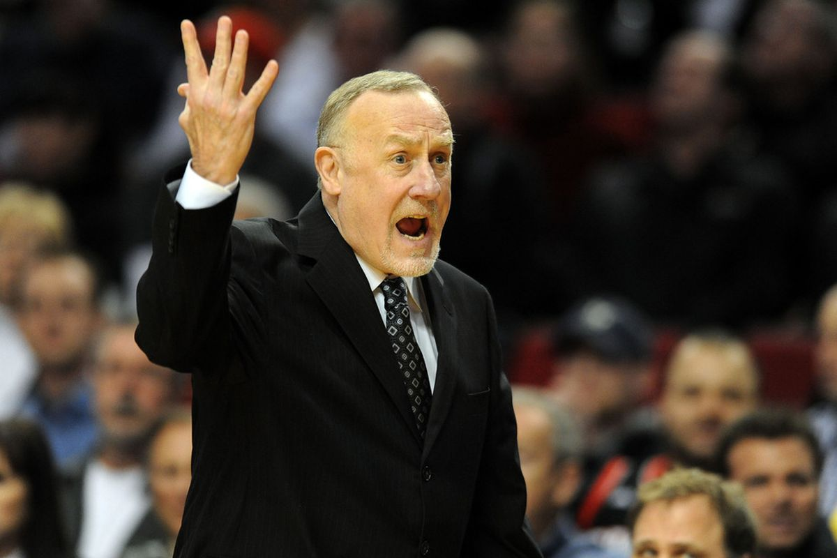 April 1, 2012; Portland, OR, USA; Minnesota Timberwolves head coach Rick Adelman yells out at the officials during the first quarter of the game against the Portland Trail Blazers at the Rose Garden. Mandatory Credit: Steve Dykes-US PRESSWIRE