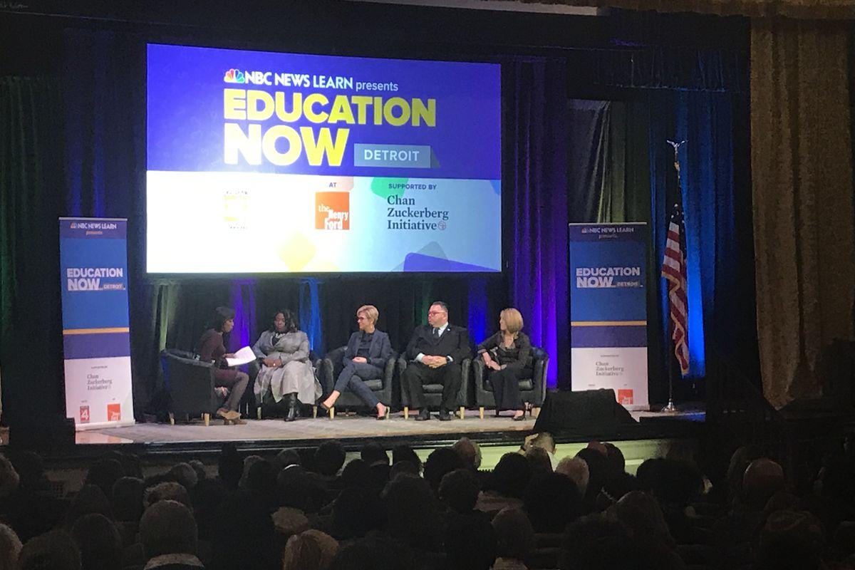 NBC News education correspondent Rehema Ellis moderates a panel discussion on teachers during an event Thursday night.