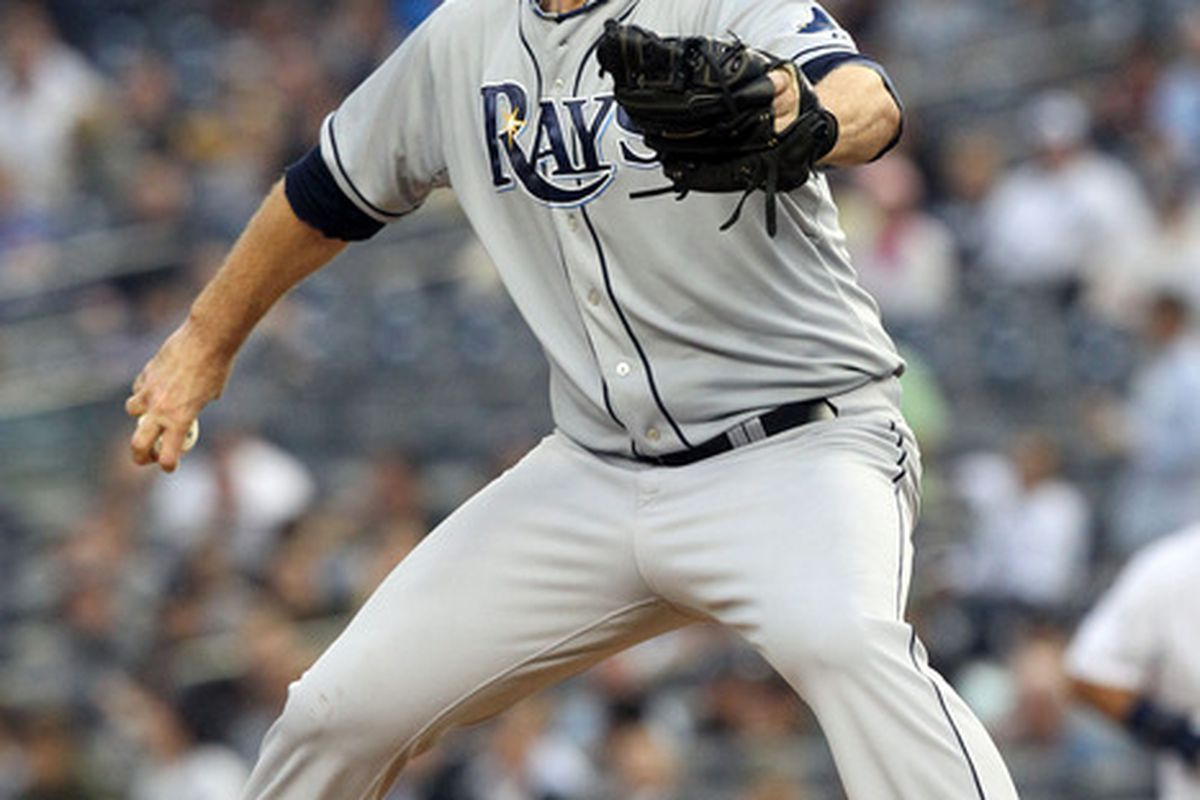 May 9, 2012; Bronx, NY, USA; Tampa Bay Rays starting pitcher Jeff Niemann throws a pitch during the first inning of a game against the New York Yankees at Yankee Stadium. Mandatory Credit: Brad Penner-US PRESSWIRE