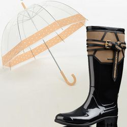 """<b>Burberry</b> Belted Leather Detail Rain Boot, <a href=""""http://us.burberry.com/store/womens-accessories/shoes/weather-boots/prod-38547911-belted-leather-detail-rain-boots/?search=true"""">$425</a> + <b>Urban Outfitters</b> Printed Bubble Umbrella, <a href="""