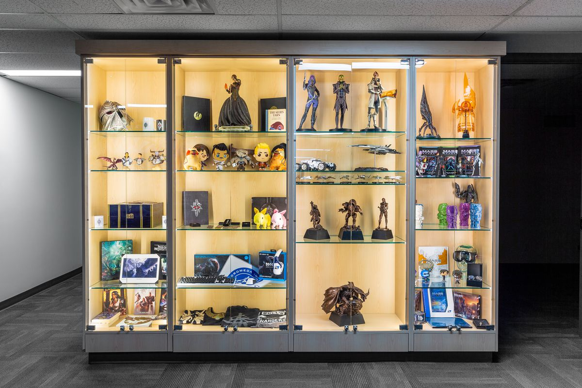 photo of a trophy case in BioWare's lobby.