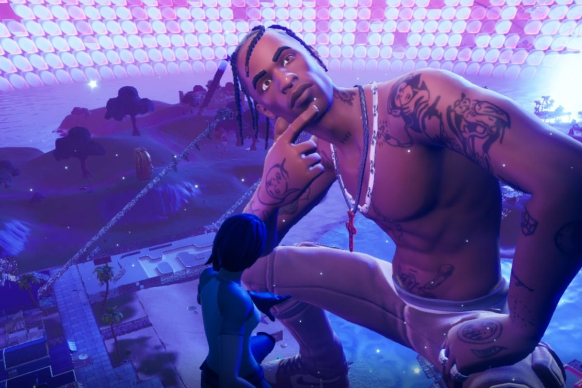 Giant Travis Scott in Fortnite during the Astronomical concert