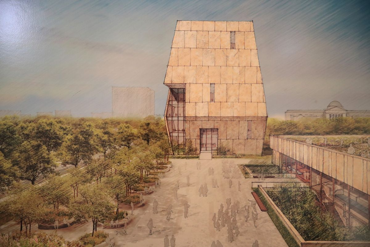 A rendering of the planned Obama Presidential Center, which is scheduled to be built in Chicago's Jackson Park.