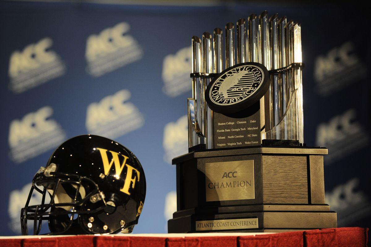 July 23, 2012; Greensboro, NC, USA; The helmet of the  Wake Forest Demon Deacons and the ACC Championship trophy during the ACC media day at the Grandover Resort in Greensboro NC. Mandatory Credit: Sam Sharpe-US PRESSWIRE