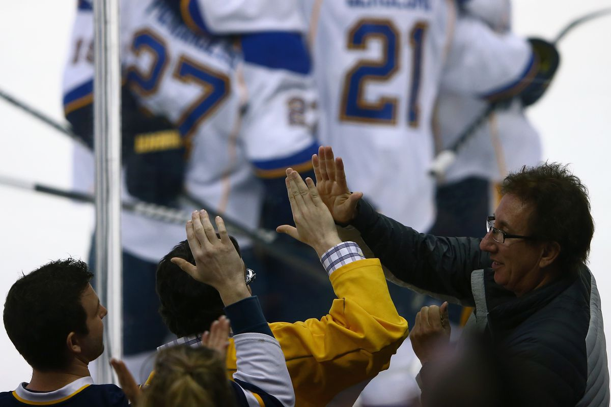 """Did these Blues fans follow protocol? IS there a protocol? No one cares if both answers are """"no""""."""