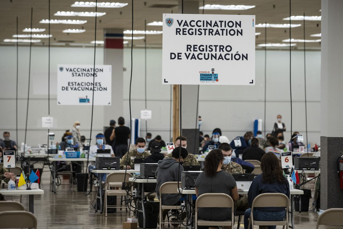 People get doses of a COVID-19 vaccine at Cook County's Forest Park Community Vaccination Site at 7630 Roosevelt Rd. in Forest Park, Thursday morning, April 8, 2021. | Ashlee Rezin Garcia/Sun-Times
