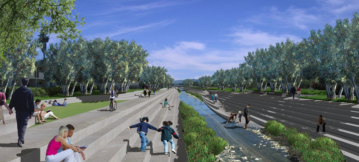 A rendering of potential plans for the LA river revitalization for the city of Los Angeles shows the river flowing with concrete steps surrounding it for sitting and playing, there are trees and lush greens.